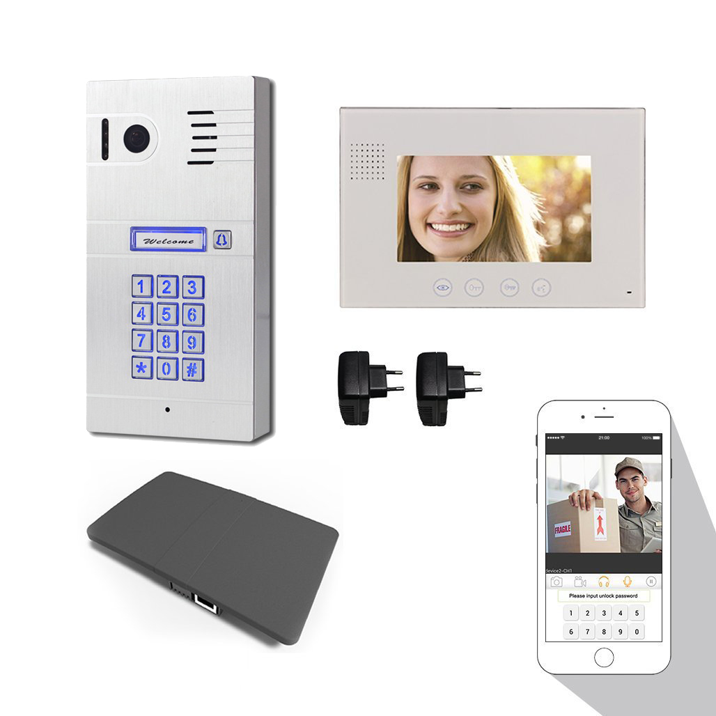 Wireless WiFi IP Video Doorphone Metal Waterproof HD Camera Video Doorbell Intercom System with 7 inch LCD Monitor 600TVL ...