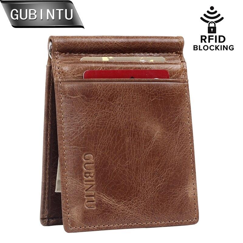 GUBINTU RFID Blockering Bifold Slim Vintage Äkta Läder Tunna Minimalistiska Front Pocket Plånböcker Money Clip Plånbok och Handväska