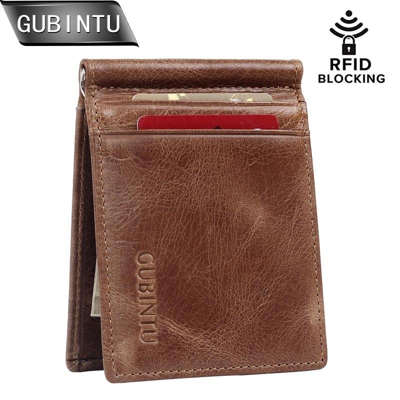 GUBINTU RFID مسدود کردن Bifold باریک Vintage چرم اصل نازک کیف پول جیب جلو مینیمالیستی جیب پول کیف پول و کیف پول