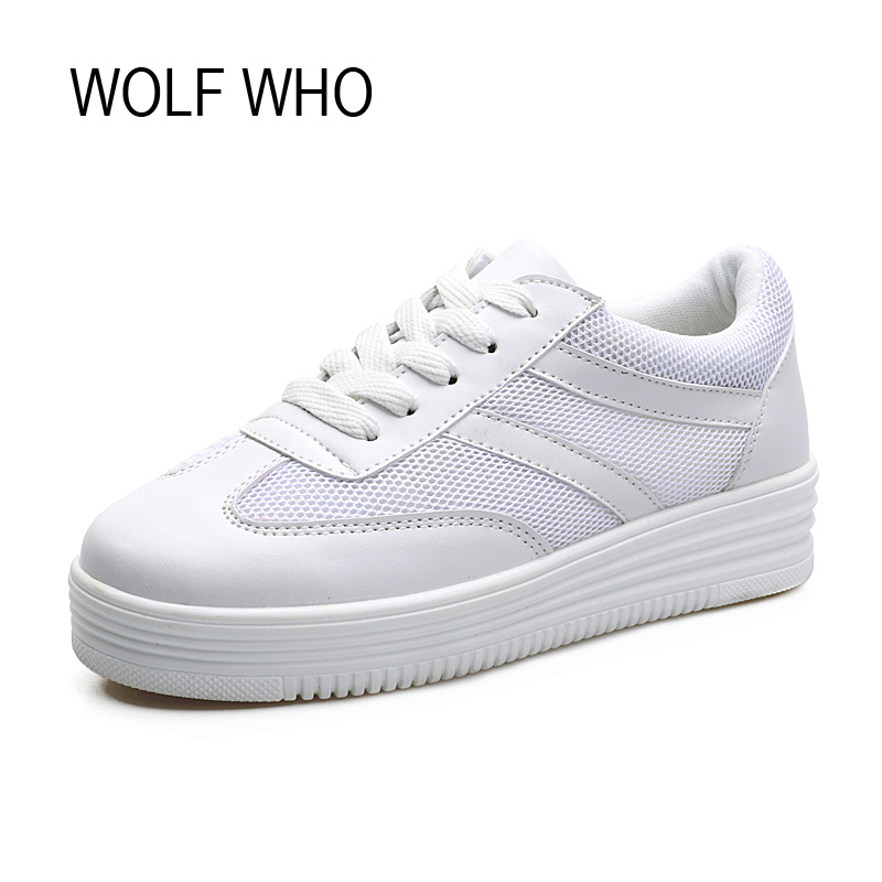WOLF WHO Female Fashion White Sneakers Women Platform Shoes Ladies Footwear Basket Femme Tenis Femininos Casual H-155 fashion women flats summer leather creepers platform sneakers causal shoes solid basket femme white black