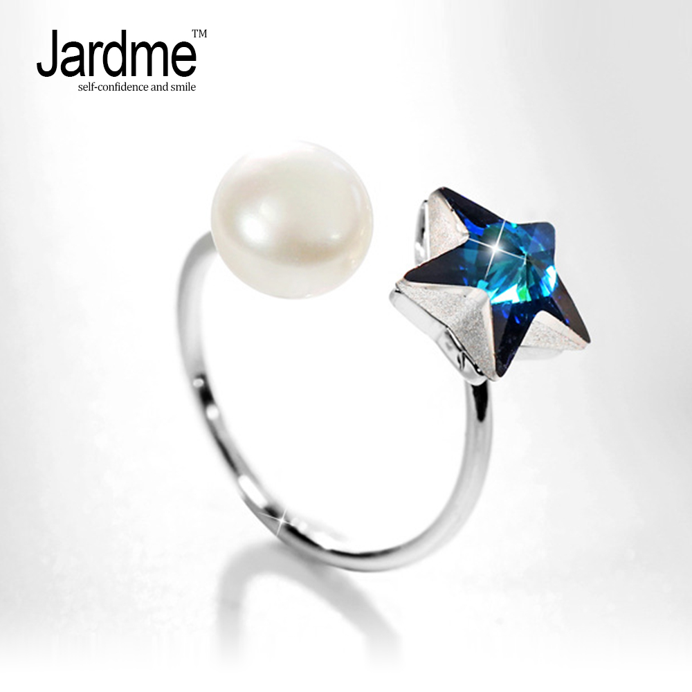 Jardme Big Pearl and Star Rings for Women 2018 New Design Boho Adjustable Rings Wedding Engagement Gift Fashion Jewelry