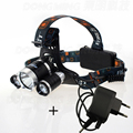Super Bright LED Farol 3 leds Energy Saving Outdoor Sports Camping Pesca CREET6 Lanterna Recarregável + fonte de alimentação
