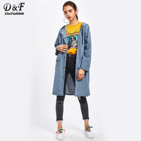 Dotfashion Drop Shoulder Hooded Denim Jacket 2017 Button Blue Single Breasted Plain Coat Autumn Woman Long Jacket