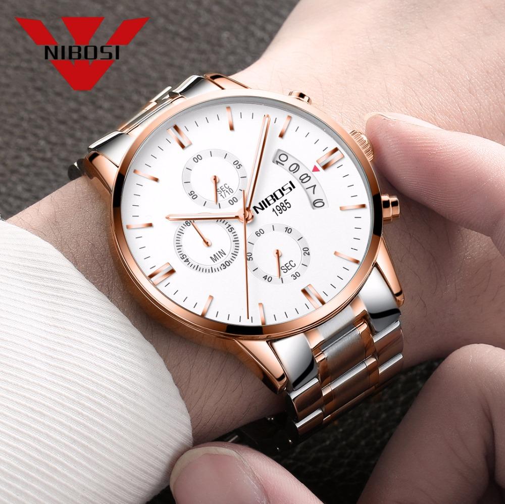 Relojes de hombre NIBOSI Relogio Masculino, relojes de pulsera de cuarzo de estilo informal de marca famosa de lujo para hombre, relojes de pulsera Saat 18