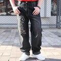Новый 2016 Модные Джинсы Мужчины Письмо Печатные Дизайнер Мешковатые Хип Hop Мужские Джинсы Известная Марка Джинсовые Брюки мужские Прямые Брюки 518