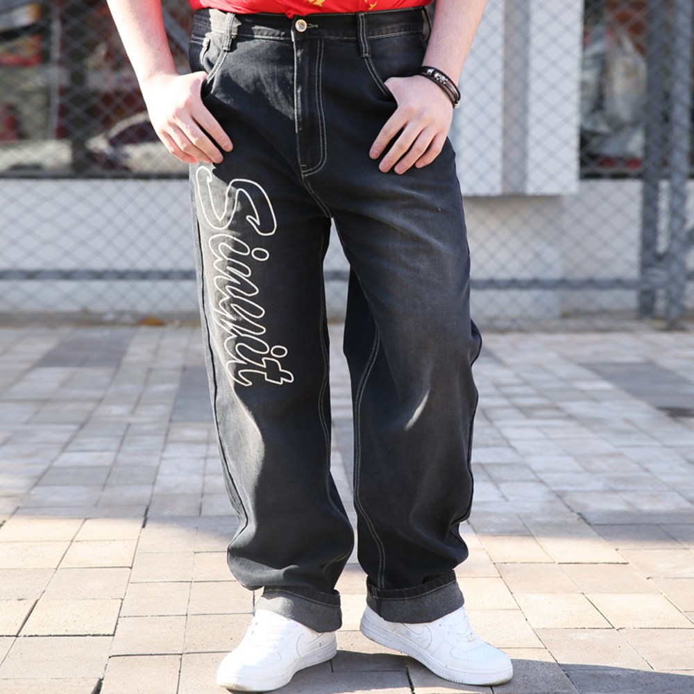 New 2017 Fashion Jeans Men Letter Printed Designer Baggy Hip Hop Mens Jeans Famous Brand Denim male Pants Straight Trousers 518 new men slim straight locomotive jeans denim jeans cowboy fashion business designer famous brand men s jeans trousers pant 29 36