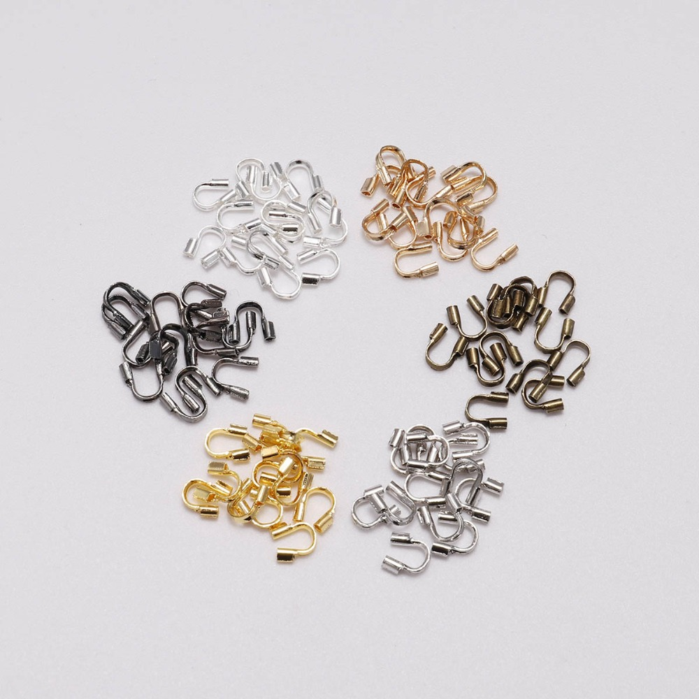 100pcs Silver Plated Wire Guard Guardian Protectors loops Jewelry findings 4mm