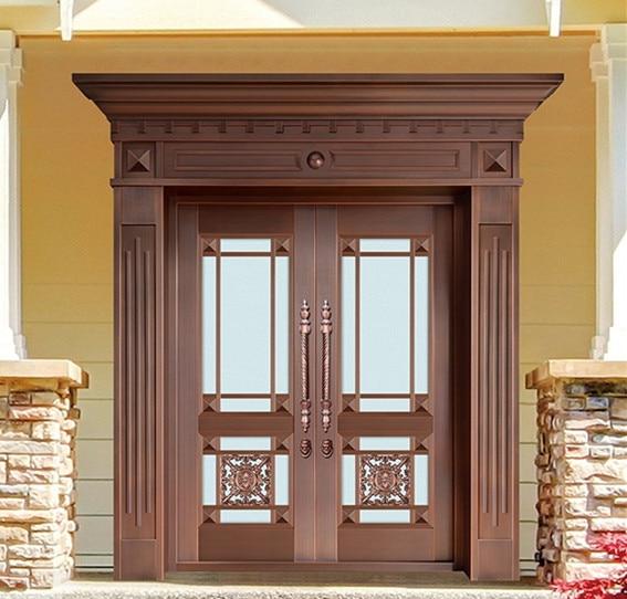 Bronze Door Security Copper Entry Doors Antique Copper Retro Door Double Gate Entry Doors H-c16