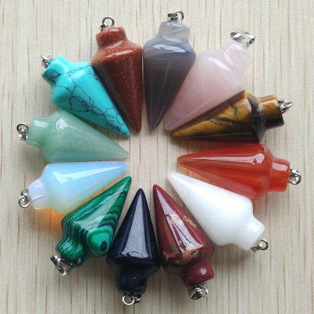 Pendentifs à pendule en pierre naturelle, breloques circulaires, pour la fabrication de bijoux, le lot de 12 pièces, vente en gros gratuite, modèle 2017