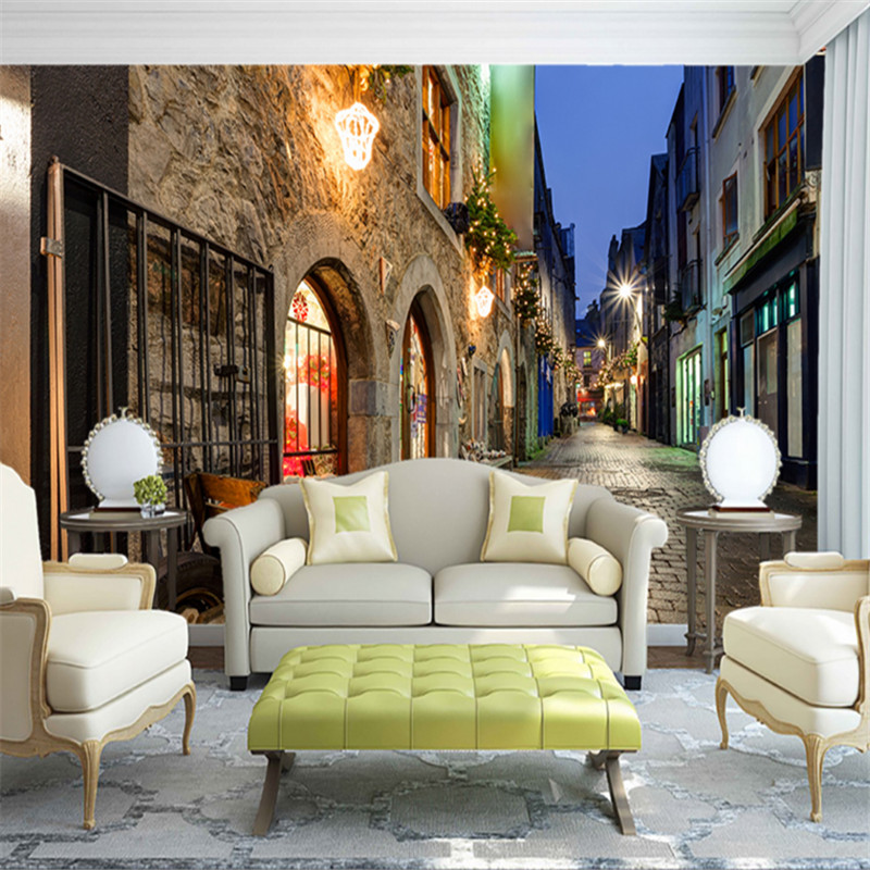 custom 3d photo high-quality non-woven wallpaper mural 3d European town night view tv sofa background wall for bedding room beibehang lovely abc print kid bedding room wallpapers ecofriendly fantasy non woven wall paper children mural wallpaper roll