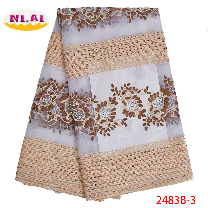 African Dry Lace Fabric Swiss Voile Stones Swiss Cotton Lace 2019 High Quality Swiss Lace Fabrics For Wedding Dress XY2483B-3
