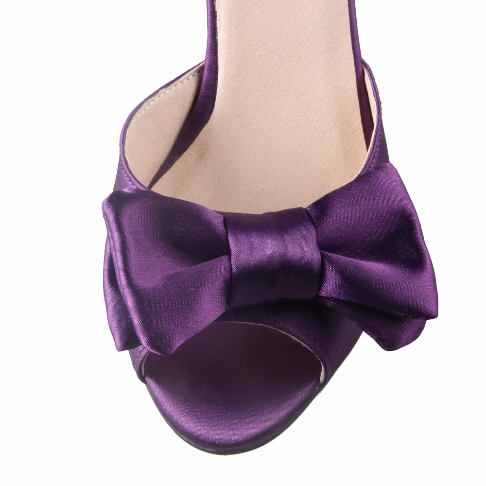 260d918131b CHS493 Custom Handmade Big Bow Kitten Heel Low Heel Lavender Satin Silk  Women Sandals Wedding Shoes Bridal Shoes -in Low Heels from Shoes on  Aliexpress.com ...