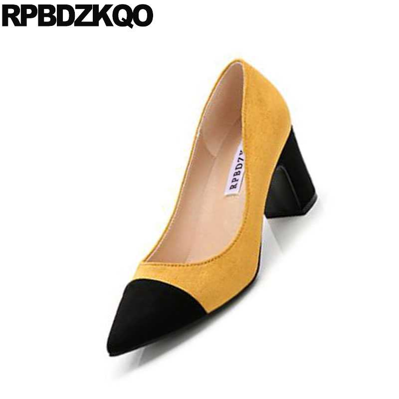 f1c85947616 ladies pumps 3 inch 10 42 chic high heels fashion size 4 34 33 yellow shoes  2018 big multi colored chunky pointed toe suede