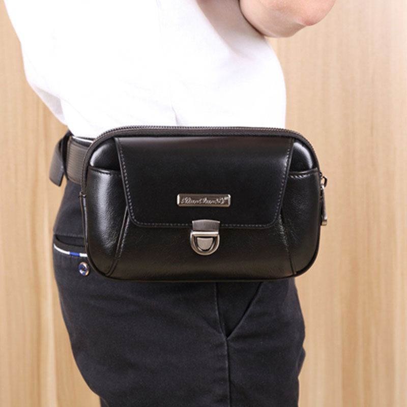 Fashion Men Genuine Leather Fanny Waist Bag Cell/Mobile Phone Coin Purse Pocket Brand High Quality Belt Bum Pouch Pack