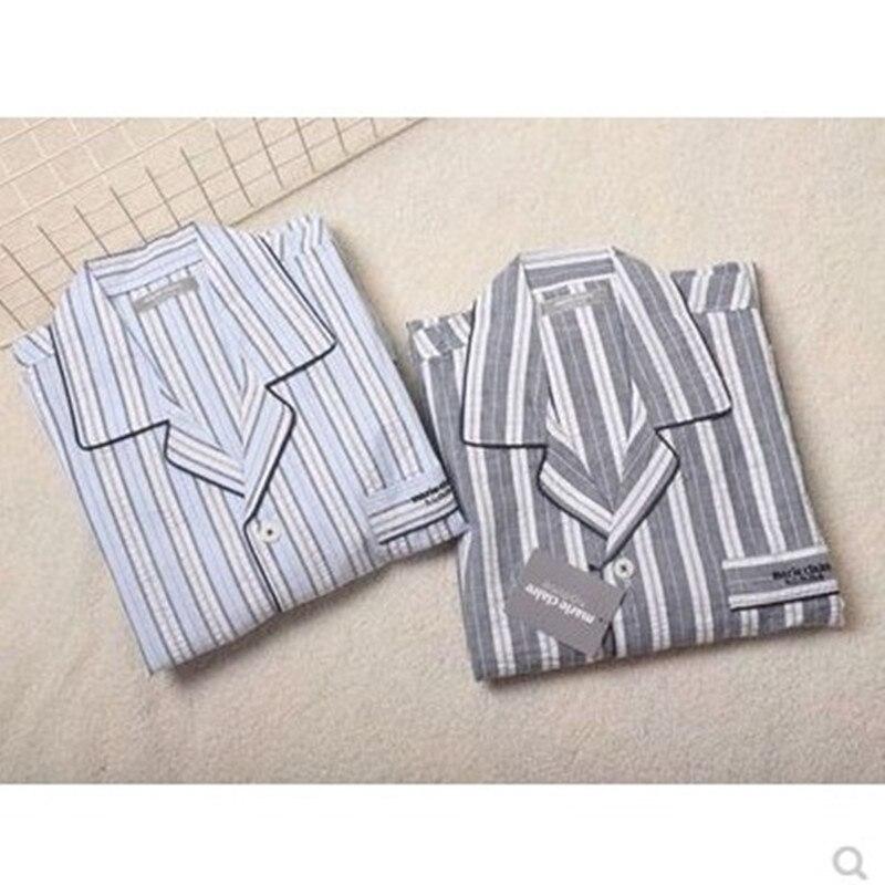 Men's pajamas summer Short sleeve trousers Cotton Pyjamas Men Sleepwea Mens Sleep Lounge Pajama Set thin Plaid