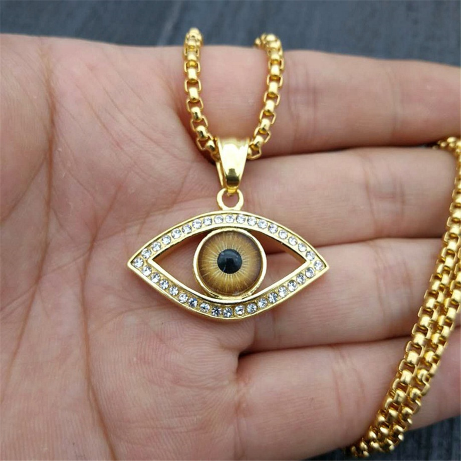 Turkish Eye Pendant With Stainless Steel Chain And Iced Out Bling Rhinestones Amulet Necklace Hip Hop Turkish Jewelry XL1284