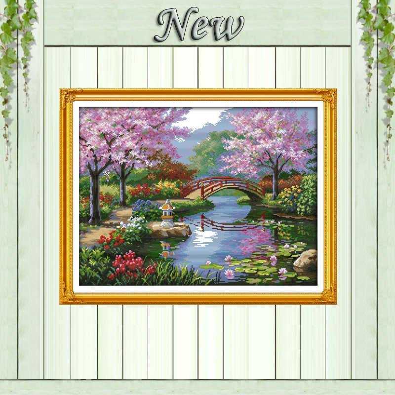 美しい風景公園、 11CT に印刷されたキャンバス DMC 14CT クロスステッチキット、針仕事刺繍セット、風光明媚な家の装飾