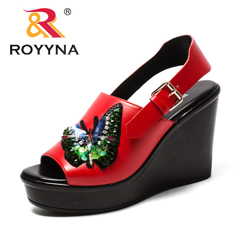 ROYYNA New Novelty Design Style Women Sandals Platform High Heels Femme Summer Shoes Microfiber Lady Sandals Fast Free Shipping royyna new sweet style women sandals cover heel summer gingham women shoes casual gladiator ladies shoes soft fast free shipping