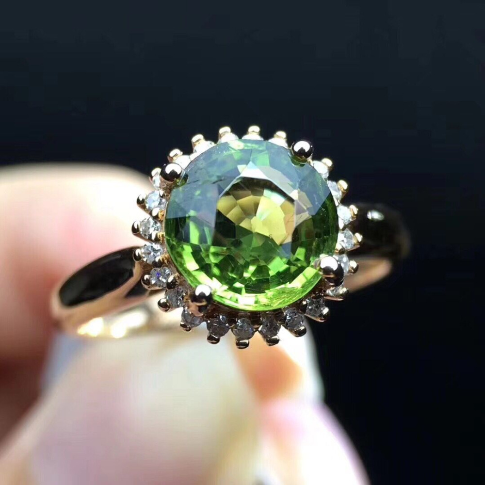 New Hot Solid 18kt Rose Gold Natural Green Tourmaline Diamond Nice Jewelry ring new pure au750 rose gold love ring lucky cute letter ring 1 13 1 23g hot sale