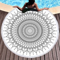 3D Digital Printing Indian Mandala Beach with Tassels Towel Purple Pink Gold Soft Beach Towel Travel Accessories Yoga Mat