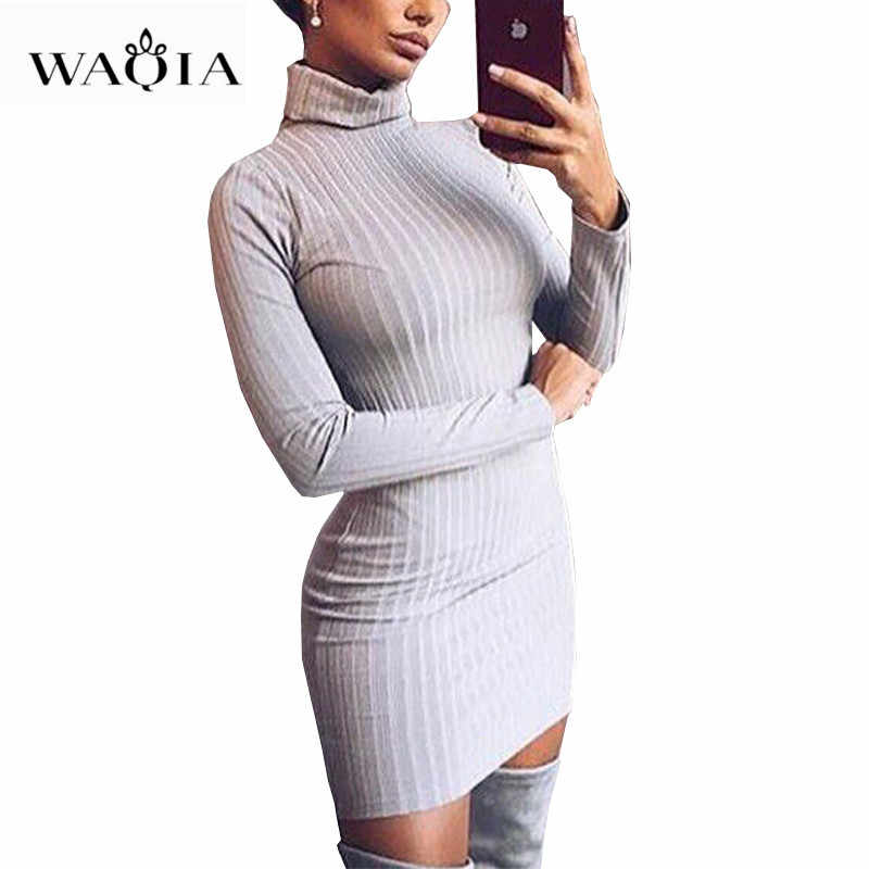 Women Sweaters Dress 2018 Knitting Dress Autumn Winter Long Sleeve Warm  Bodycon Turtleneck Midi Dress Knitted f9c8d6990