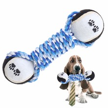 Pet Chew Toy Puppy Dog Clean Teeth Training Tool Funny Dumbbell Rope Tennis YH-461541