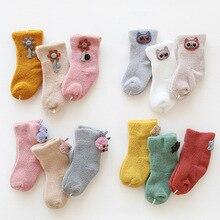 3 пары Хлопковых Носков для новорожденных зимние Утепленные Носки для маленьких мальчиков и девочек носки-тапочки для девочек Противоскользящий носок От 0 до 3 лет