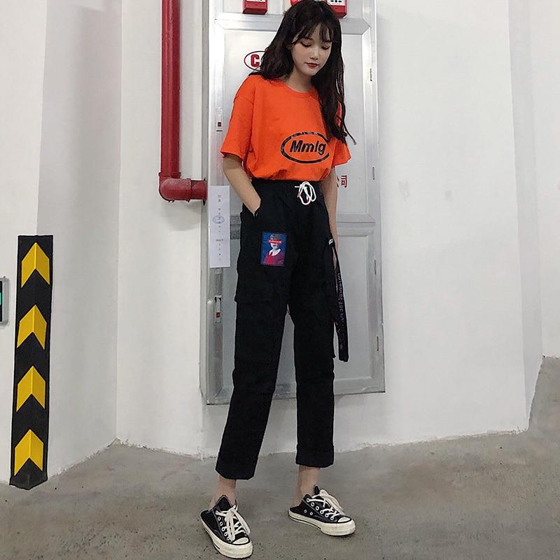 Pants Women Summer 2019 New Trendy Printed Womens Loose Elastic Waist Leisure Daily Pockets Harajuku Hip Hop Female Girls Retro 37