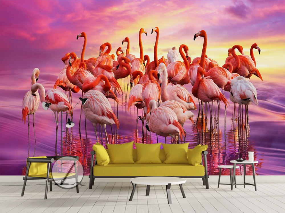 3d photo wallpaper living room custom mural beautiful flamingo sea painting TV sofa background non-woven wallpaper for wall 3d custom 3d mural wallpaper print modern living room sofa tv bedroom fashion colorful lion photo background decor wall paper rolls
