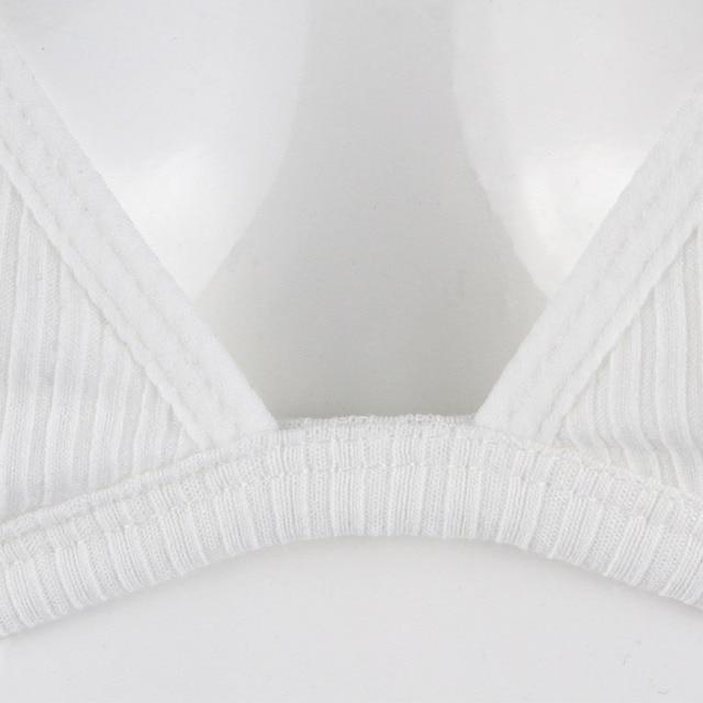 Comfort Ladies Underwear Padded Women Bra Wire Free Rib Cotton Bralette Breathable Adjusted Brassiere Female  Lingerie