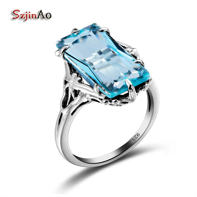 Szjinao Sale Solid 925 Sterling Silver Square Sky Blue Aquamarine Big Silver Rings for Women Austrian Crystal Jewellery