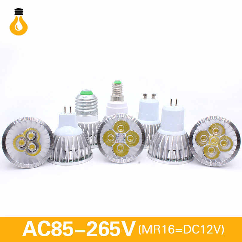 E27 e14 led luz regulable MR16 DC12V LED 9w 12W 15w GU10 bombillas LED foco de alta potencia gu 10 led lámpara blanca LED punto Luz