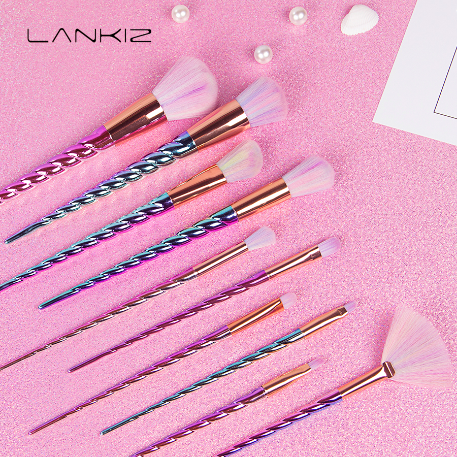 10pcs Unicorn Makeup Brushes Set Pincel Maquiagem Colorful Contour Base Foundation Powder Blush Brush Cosmetics Make Up Brushes