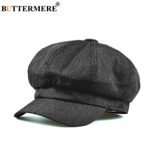 BUTTERMERE Newsboy Cap Women Black Cotton Linen Baker Female Solid Octagonal Hat Ladies Spring Summer Classic Painters