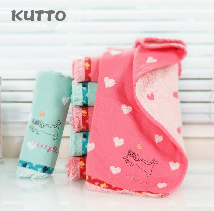 Kutto Pure cotton embroidery kitten gauze towel soft thickening suction household adult 34*75cm