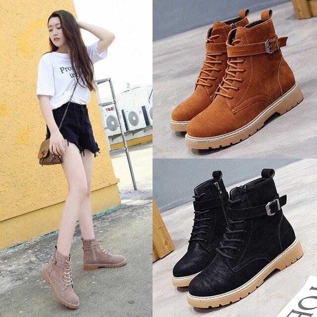 YOUYEDIAN Kadın Çizmeler Yuvarlak Ayak bağcıklı Zip Deri Çizmeler Casual Martin Ayakkabı ayakkabi sandalet bayan # A25