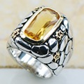 Citrine 925 Sterling Silver Top Quality Fancy Jewelry wedding Ring Size 6.5 7.5 8.5 9.5 10.5 F1153