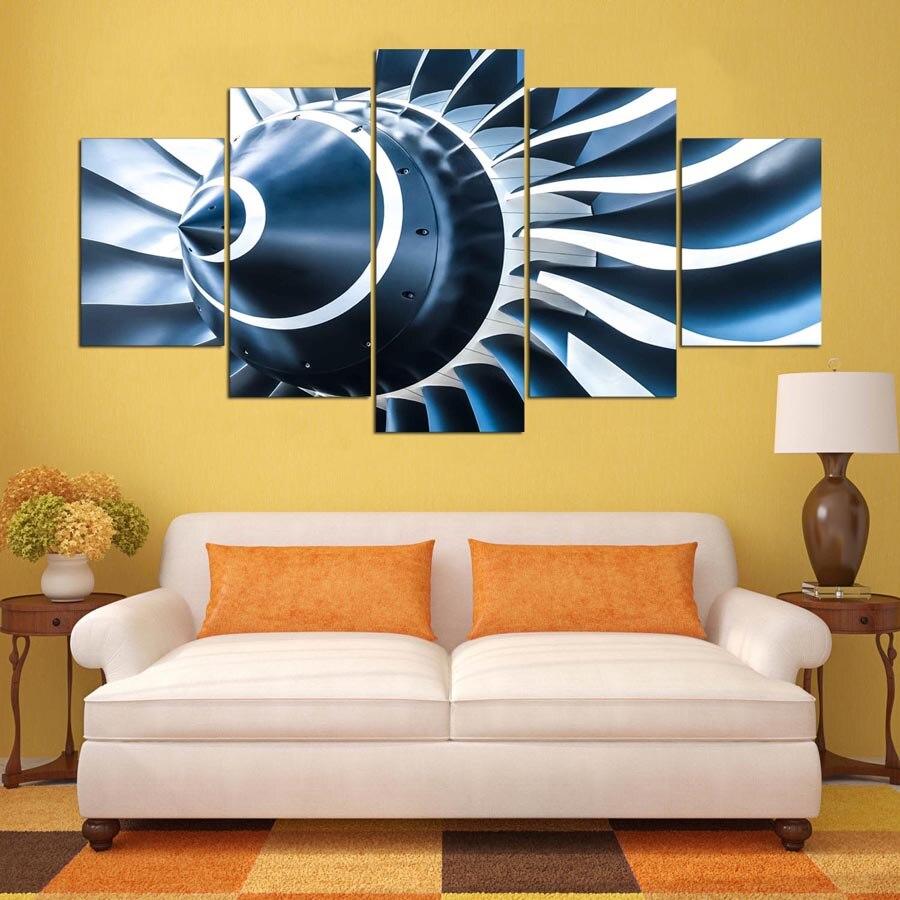 DAFENJINGMO ARTS 5 panel painting HD printed painting Jet engine ...