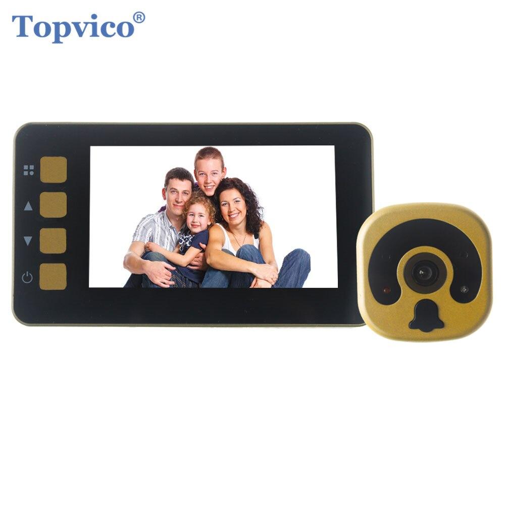 Topvico Видео дверной глазок Камера 4,3 Цвет Экран Фото Видео Запись видео-глаз проводной цифровой видео просмотра ИК ночного