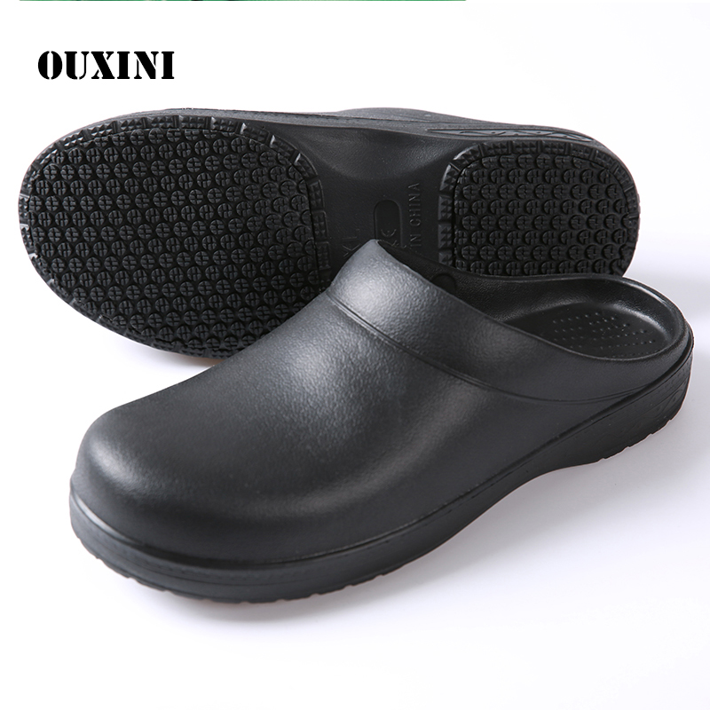 chef's shoes Non-slip Kitchen Work Shoes Oil-Proof Water-Proof for the Chef Master Cook Hotel Restaurant Slippers Sandals Flat image