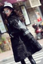 Новый натуральная натуральный кроличий мех FUT пальто Женская мода Бейсбол Куртки Дамы Полный плет весь голени меха Верхняя одежда Пальто