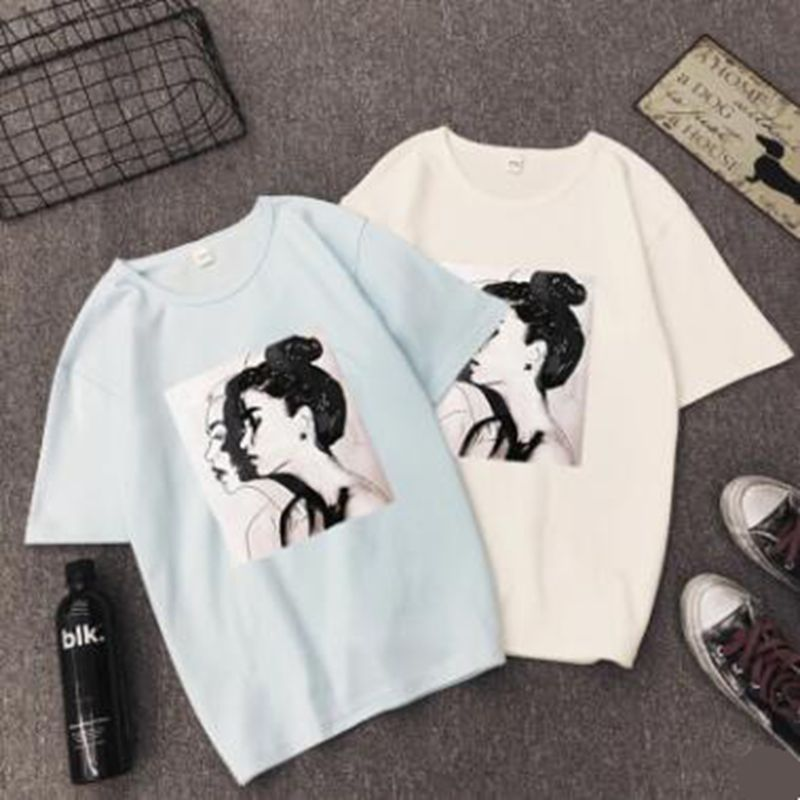 Ulzzang T-shirts Woman Spring Summer Girls Print Short Sleeve O-Neck T-Shirt Loose Women Tops Slim Fit Soft Lady Tshirts