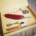 Customize Gift Box Vintage Harry Potter Metal Curved Natural Turkey Feather Pen Set with 5 nibs, pen stand, Wax, Name Seal, Quil