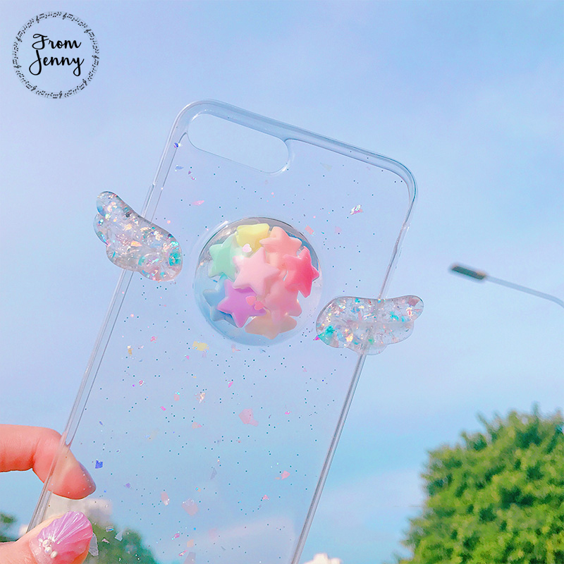 From Jenny Mobile Phone Case For iPhone X 6 6s 7 Plus Soft TPU Wings Stars 3D Crystal Lady Girls Style Back Cover Shell Fundas