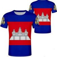 Камбоджа мужской diy Бесплатная Индивидуальный заказ имя номер кхм страна футболка Национальный флаг kh кхмер камбоджийское Королевство печ...