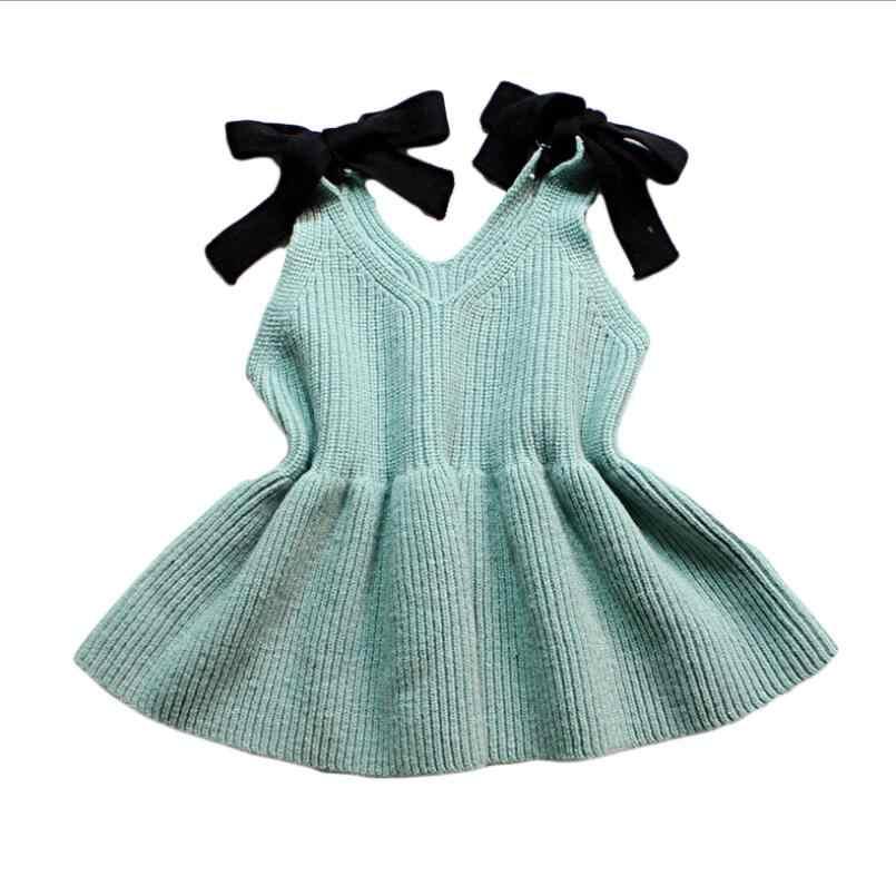 2018 秋ベビー幼児のセーター女の子ニットベストコートベスト弓子供プルオーバーセータードレス子供服 JW4128