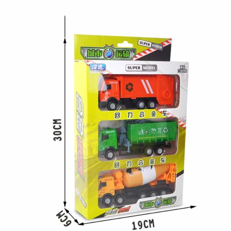 Mini Paduan Teknik Mobil Traktor Mainan Dump Truk Model Klasik Mobil Mainan untuk Anak-anak Anak Hadiah Natal 3 Pcs/set