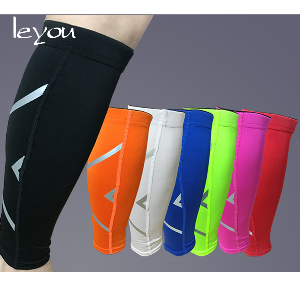Leyou Reflective Compression Sleeves For Legs Calf Elastic Sleeve Running Legs Warmers Calf Support Compression Knee Sleeve