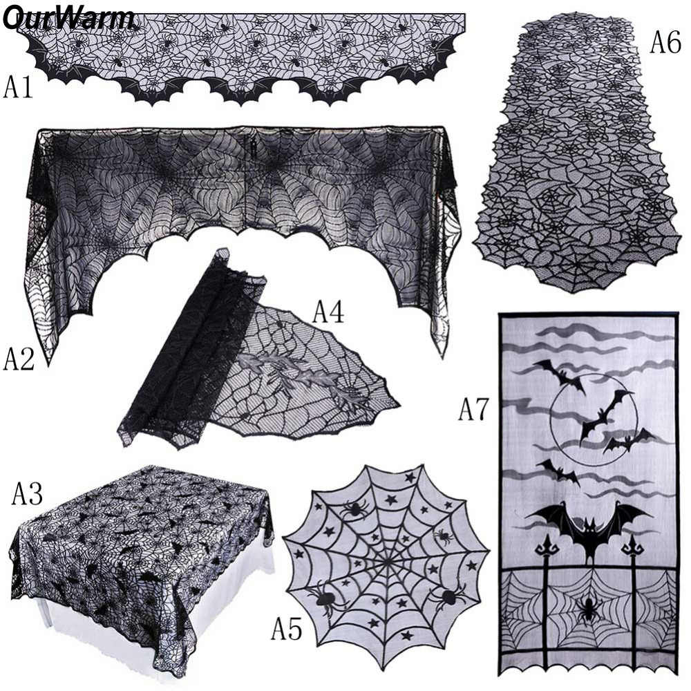 Ourwarm Halloween Party Black Lace Spiderweb Fireplace Mantle Scarf Table Cloth Horror Props Halloween Party Favor Decoration