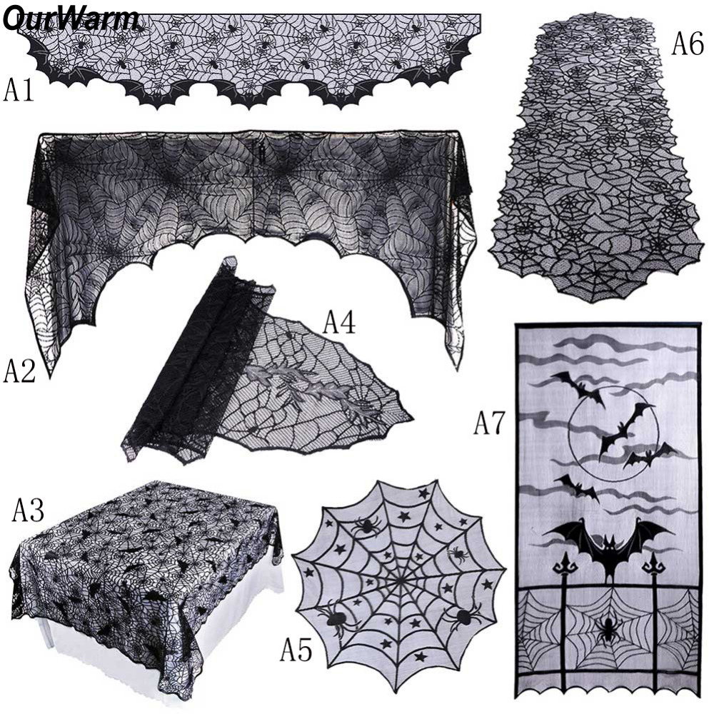 Ourwarm 1 Piece אבזרי קישוט ליל כל הקדושים תחרה קורי עכביש שחור מעטפת אח צעיף כיסוי מפת שולחן ציוד חגיגי מפלגה